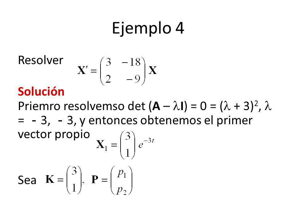 Ejemplo 4 Resolver Solución Priemro resolvemso det (A – I) = 0 = ( + 3) 2, = 3, 3, y entonces obtenemos el primer vector propio Sea