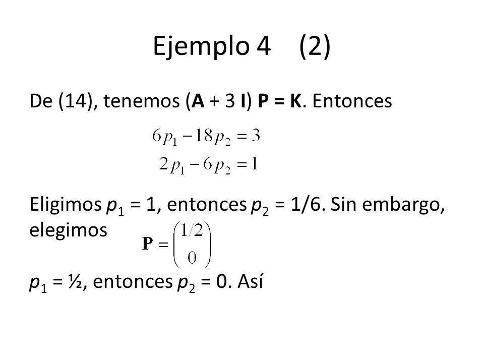 Ejemplo 4 (2) De (14), tenemos (A + 3 I) P = K. Entonces Eligimos p 1 = 1, entonces p 2 = 1/6. Sin embargo, elegimos p 1 = ½, entonces p 2 = 0. Así