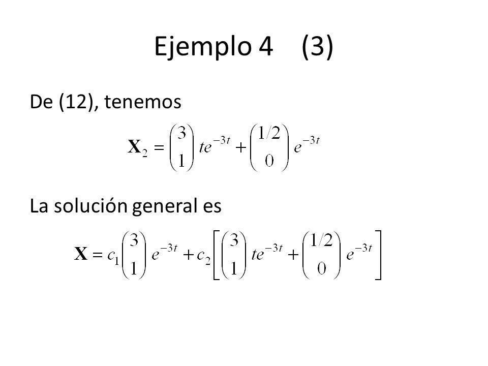 Ejemplo 4 (3) De (12), tenemos La solución general es