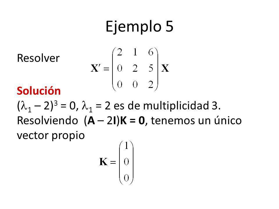 Ejemplo 5 Resolver Solución ( 1 – 2) 3 = 0, 1 = 2 es de multiplicidad 3. Resolviendo (A – 2I)K = 0, tenemos un único vector propio