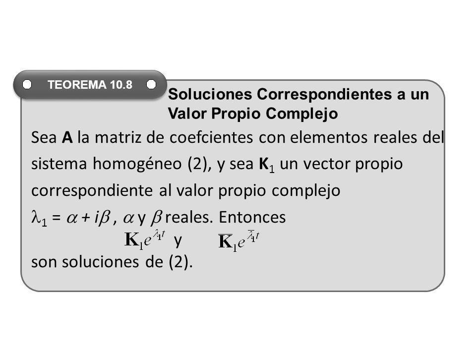 Sea A la matriz de coefcientes con elementos reales del sistema homogéneo (2), y sea K 1 un vector propio correspondiente al valor propio complejo 1 =