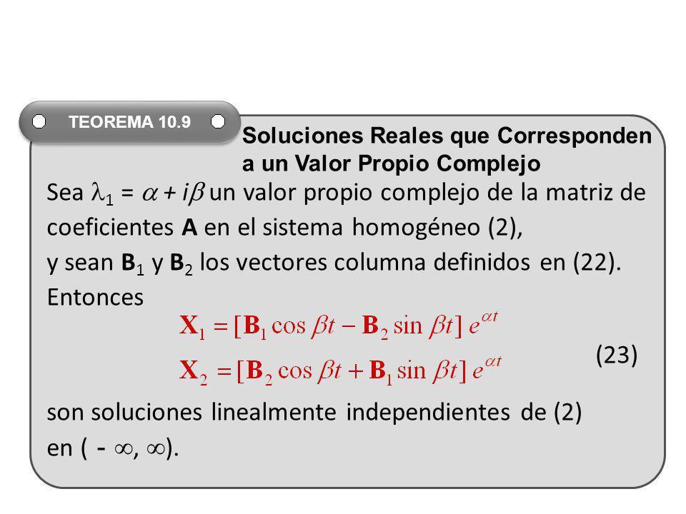 Sea 1 = + i un valor propio complejo de la matriz de coeficientes A en el sistema homogéneo (2), y sean B 1 y B 2 los vectores columna definidos en (2
