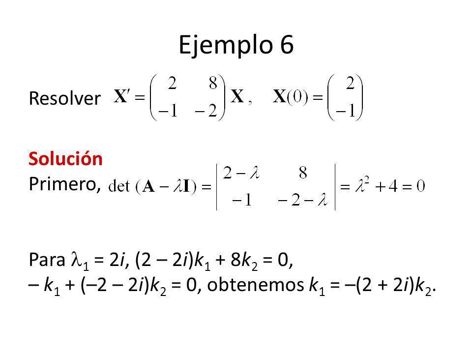 Ejemplo 6 Resolver Solución Primero, Para 1 = 2i, (2 – 2i)k 1 + 8k 2 = 0, – k 1 + (–2 – 2i)k 2 = 0, obtenemos k 1 = –(2 + 2i)k 2.
