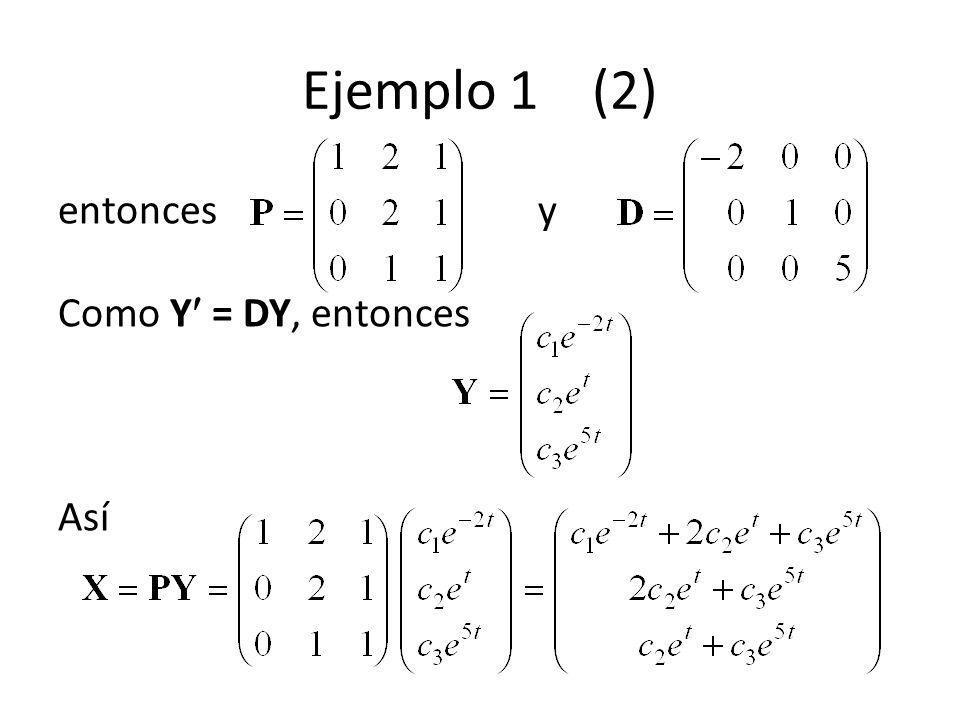 Ejemplo 1 (2) entoncesy Como Y = DY, entonces Así