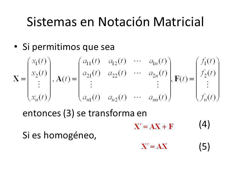 Sistemas en Notación Matricial Si permitimos que sea entonces (3) se transforma en (4) Si es homogéneo, (5)