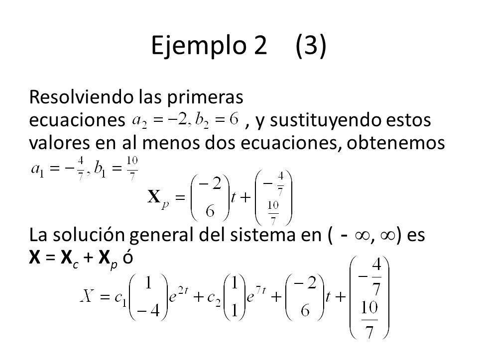 Ejemplo 2 (3) Resolviendo las primeras ecuaciones, y sustituyendo estos valores en al menos dos ecuaciones, obtenemos La solución general del sistema