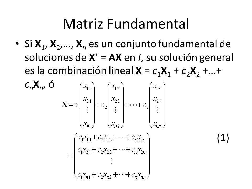 Matriz Fundamental Si X 1, X 2,…, X n es un conjunto fundamental de soluciones de X = AX en I, su solución general es la combinación lineal X = c 1 X