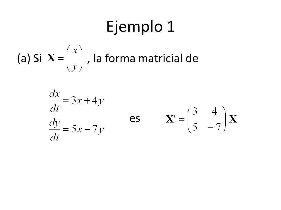 Ejemplo 1 (a) Si, la forma matricial de es