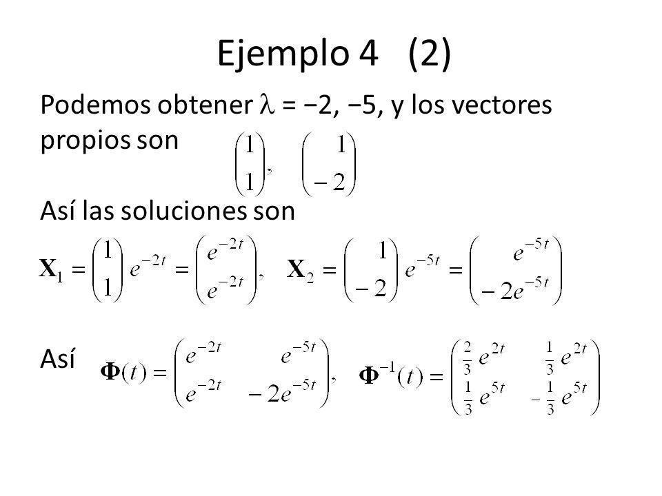 Ejemplo 4 (2) Podemos obtener = 2, 5, y los vectores propios son Así las soluciones son Así