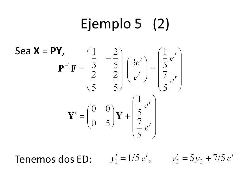 Ejemplo 5 (2) Sea X = PY, Tenemos dos ED: