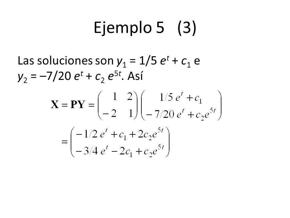 Ejemplo 5 (3) Las soluciones son y 1 = 1/5 e t + c 1 e y 2 = –7/20 e t + c 2 e 5t. Así