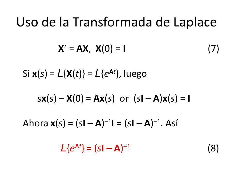 Uso de la Transformada de Laplace X = AX, X(0) = I (7) Si x(s) = L {X(t)} = L {e At }, luego sx(s) – X(0) = Ax(s) or (sI – A)x(s) = I Ahora x(s) = (sI