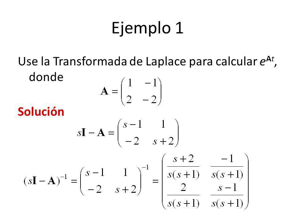 Ejemplo 1 Use la Transformada de Laplace para calcular e At, donde Solución