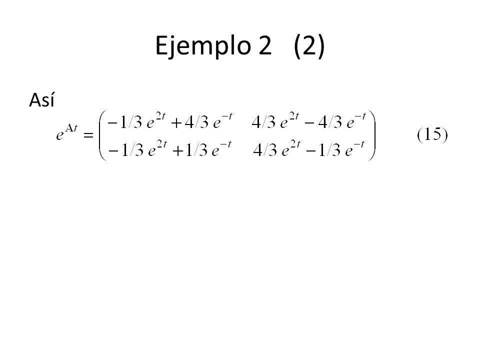 Ejemplo 2 (2) Así