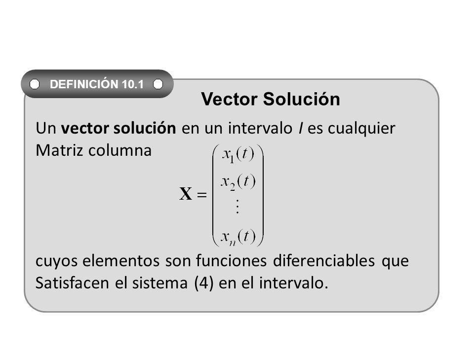 Un vector solución en un intervalo I es cualquier Matriz columna cuyos elementos son funciones diferenciables que Satisfacen el sistema (4) en el inte