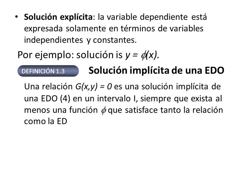 Solución explícita: la variable dependiente está expresada solamente en términos de variables independientes y constantes. Por ejemplo: solución is y