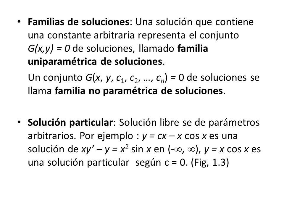 Familias de soluciones: Una solución que contiene una constante arbitraria representa el conjunto G(x,y) = 0 de soluciones, llamado familia uniparamét