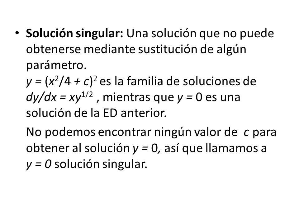Solución singular: Una solución que no puede obtenerse mediante sustitución de algún parámetro. y = (x 2 /4 + c) 2 es la familia de soluciones de dy/d
