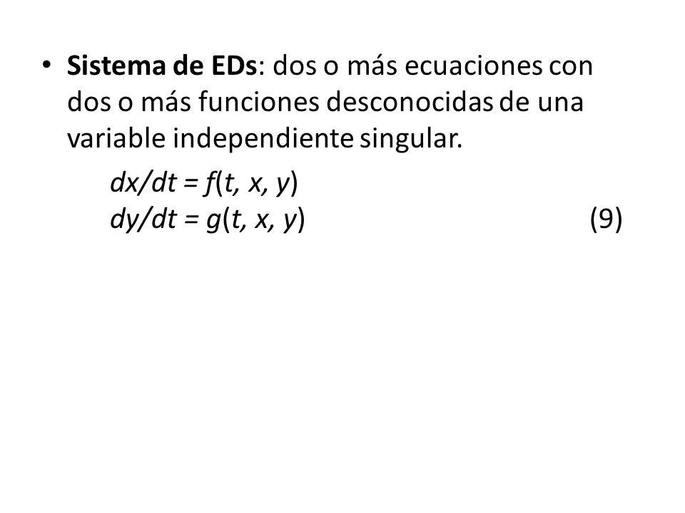 Sistema de EDs: dos o más ecuaciones con dos o más funciones desconocidas de una variable independiente singular. dx/dt = f(t, x, y) dy/dt = g(t, x, y