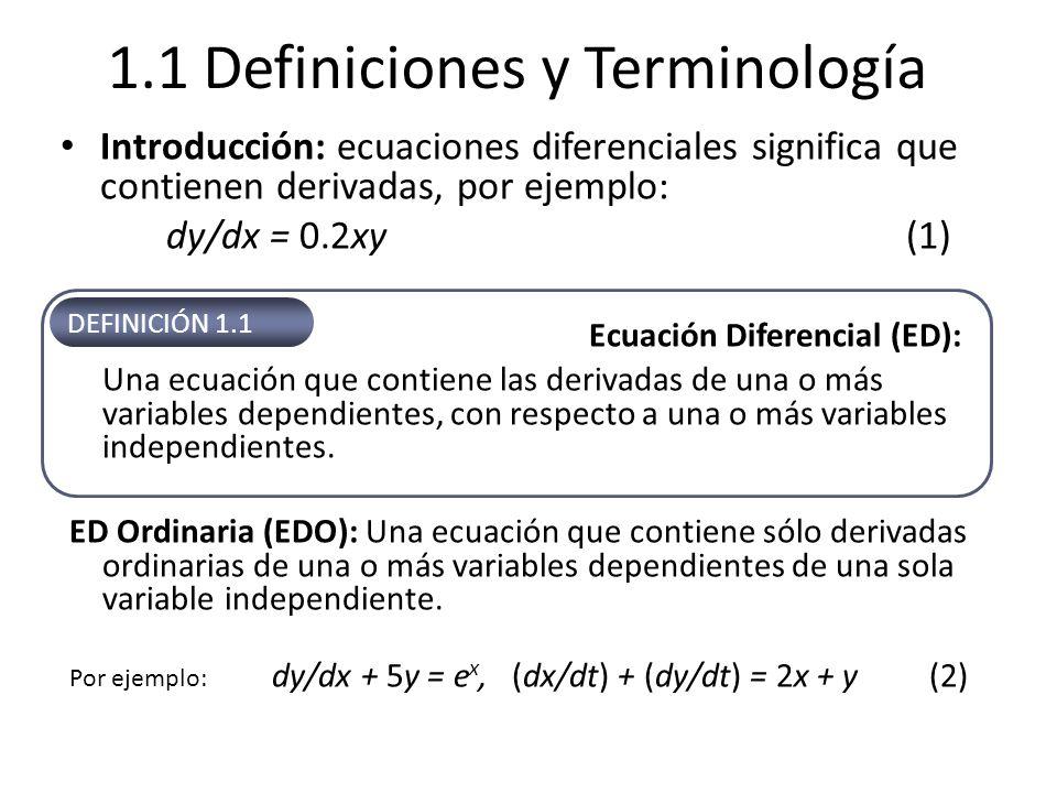 1.1 Definiciones y Terminología Introducción: ecuaciones diferenciales significa que contienen derivadas, por ejemplo: dy/dx = 0.2xy(1) Ecuación Difer