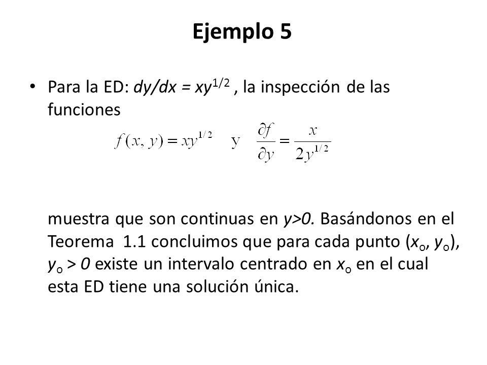 Ejemplo 5 Para la ED: dy/dx = xy 1/2, la inspección de las funciones muestra que son continuas en y>0. Basándonos en el Teorema 1.1 concluimos que par