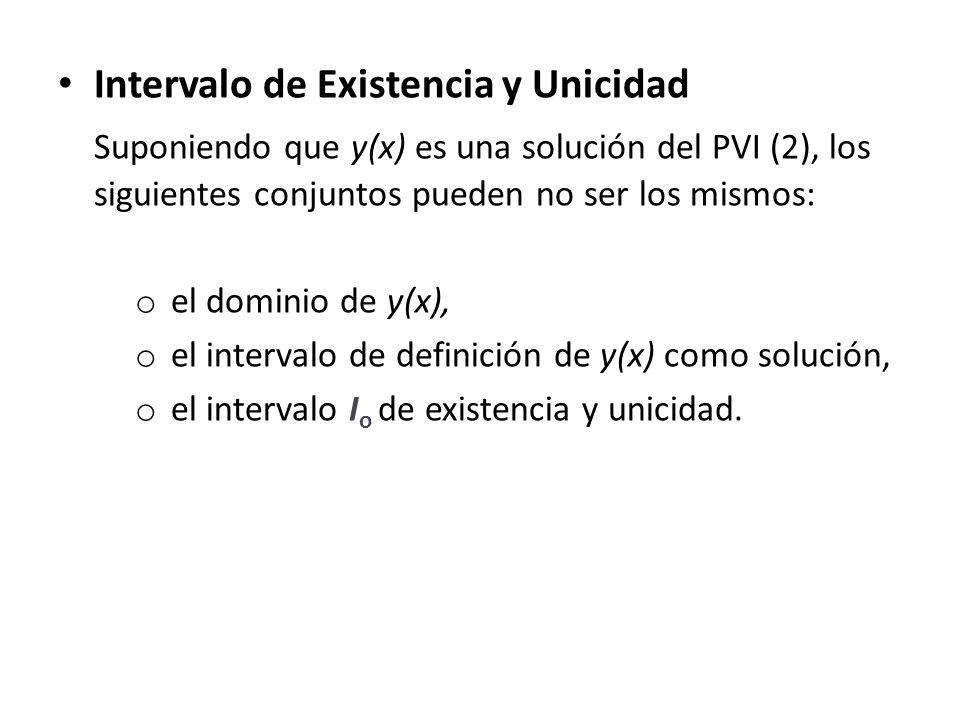Intervalo de Existencia y Unicidad Suponiendo que y(x) es una solución del PVI (2), los siguientes conjuntos pueden no ser los mismos: o el dominio de