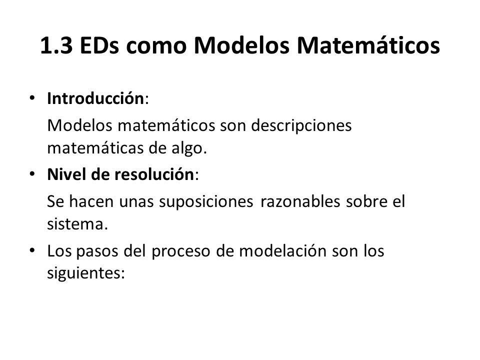 1.3 EDs como Modelos Matemáticos Introducción: Modelos matemáticos son descripciones matemáticas de algo. Nivel de resolución: Se hacen unas suposicio