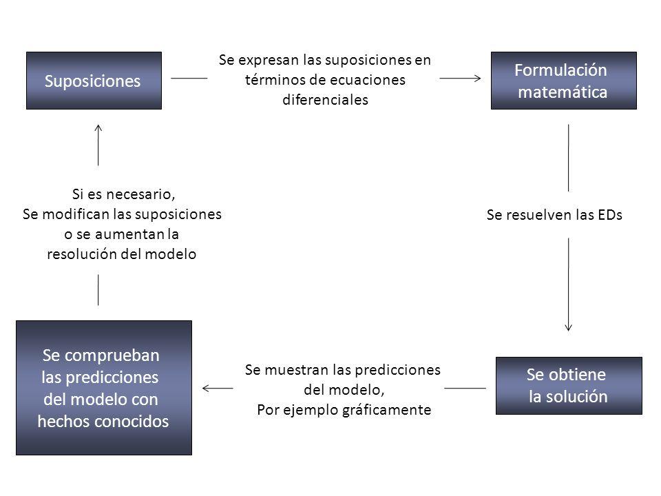 Suposiciones Se expresan las suposiciones en términos de ecuaciones diferenciales Formulación matemática Se resuelven las EDs Se obtiene la solución S