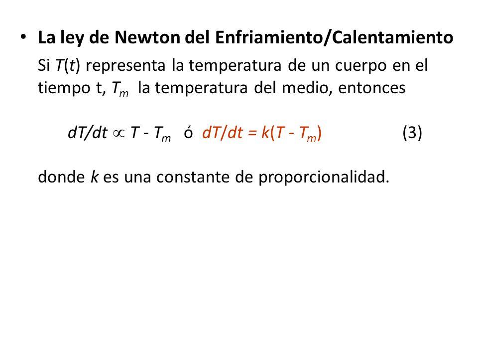 La ley de Newton del Enfriamiento/Calentamiento Si T(t) representa la temperatura de un cuerpo en el tiempo t, T m la temperatura del medio, entonces