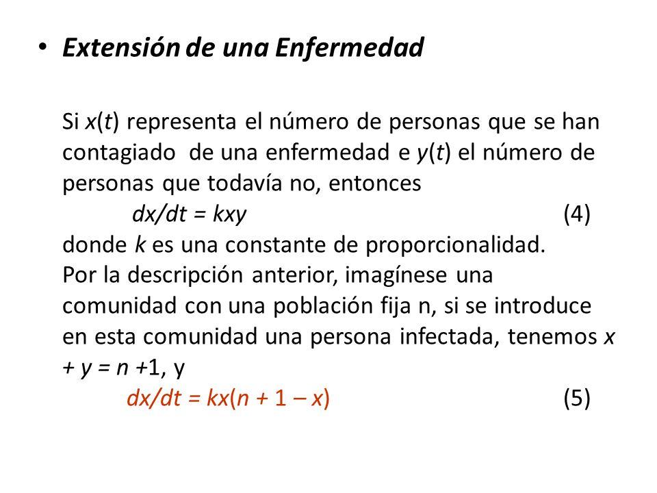 Extensión de una Enfermedad Si x(t) representa el número de personas que se han contagiado de una enfermedad e y(t) el número de personas que todavía