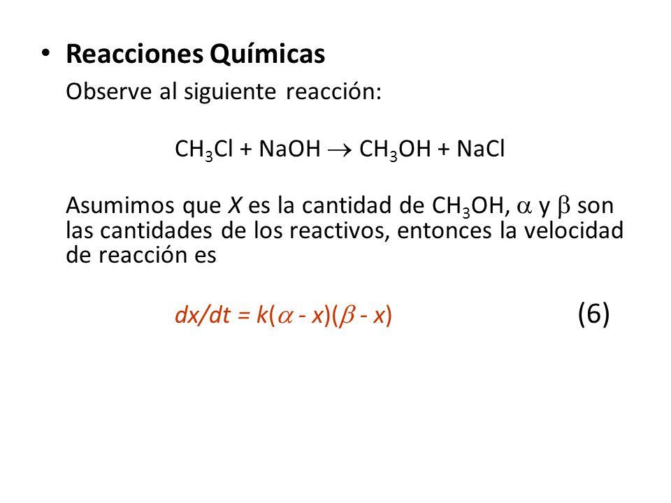 Reacciones Químicas Observe al siguiente reacción: CH 3 Cl + NaOH CH 3 OH + NaCl Asumimos que X es la cantidad de CH 3 OH, y son las cantidades de los