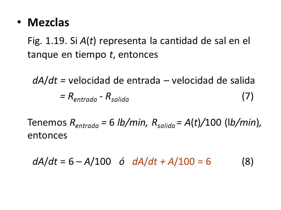 Mezclas Fig. 1.19. Si A(t) representa la cantidad de sal en el tanque en tiempo t, entonces dA/dt = velocidad de entrada – velocidad de salida = R ent