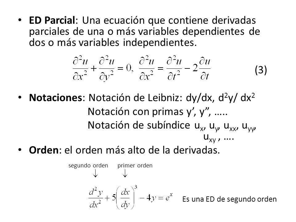 ED Parcial: Una ecuación que contiene derivadas parciales de una o más variables dependientes de dos o más variables independientes. (3) Notaciones: N