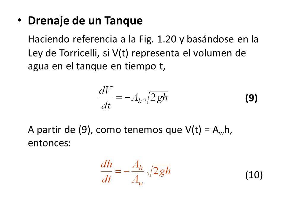 Drenaje de un Tanque Haciendo referencia a la Fig. 1.20 y basándose en la Ley de Torricelli, si V(t) representa el volumen de agua en el tanque en tie