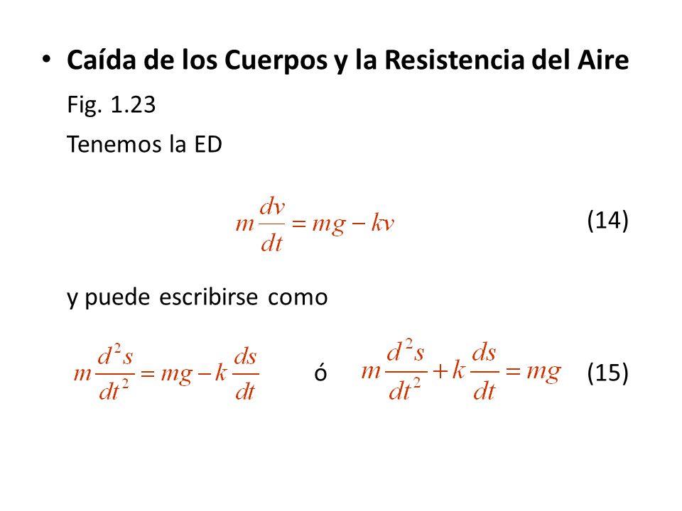 Caída de los Cuerpos y la Resistencia del Aire Fig. 1.23 Tenemos la ED (14) y puede escribirse como ó(15)