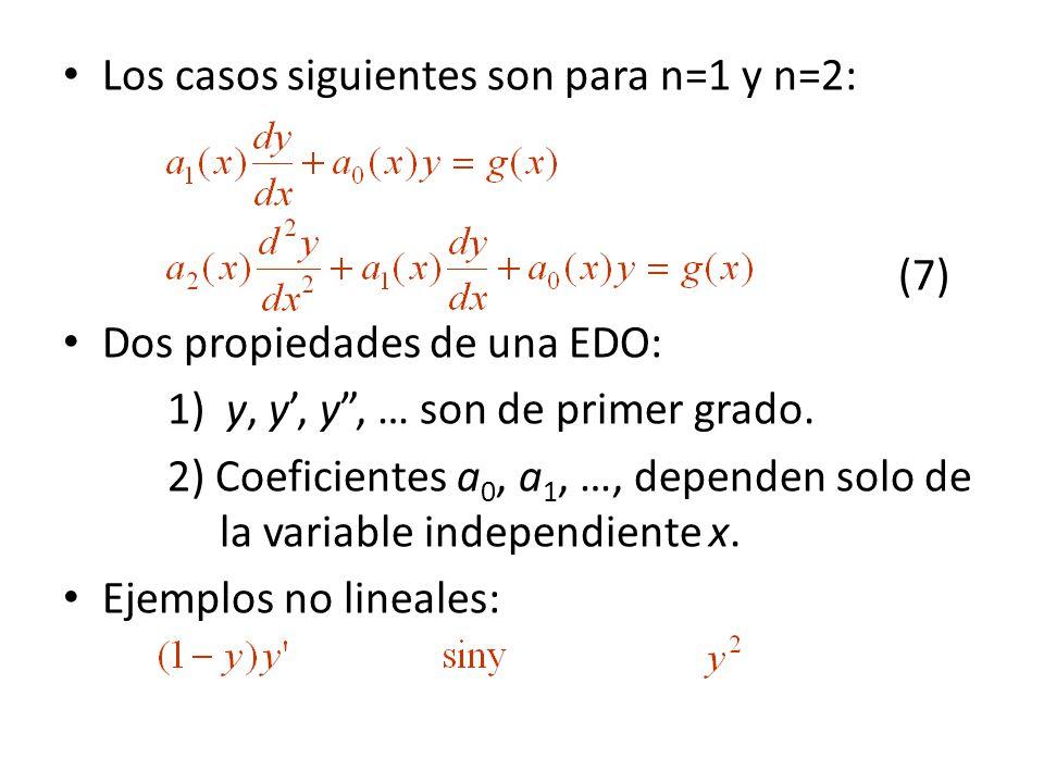 Los casos siguientes son para n=1 y n=2: (7) Dos propiedades de una EDO: 1) y, y, y, … son de primer grado. 2) Coeficientes a 0, a 1, …, dependen solo