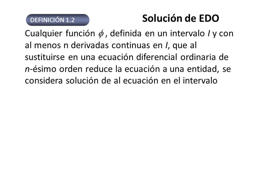 Ejemplo 1 Comprobar que la función indicada es la solución de la EDO dada en (, ) (a) dy/dx = xy 1/2 ; y = x 4 /16 (b) Solución: (a) lado izquierdo : lado derecho, derecha = izquierda: (b) Derivando en la ecuación de la derecha e igualando : Nótese que y=0 también es la solución del ejemplo 1, llamada solución trivial.