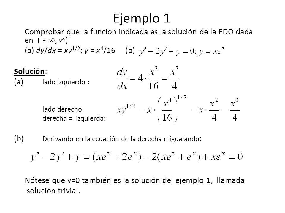 Ejemplo 1 Comprobar que la función indicada es la solución de la EDO dada en (, ) (a) dy/dx = xy 1/2 ; y = x 4 /16 (b) Solución: (a) lado izquierdo :