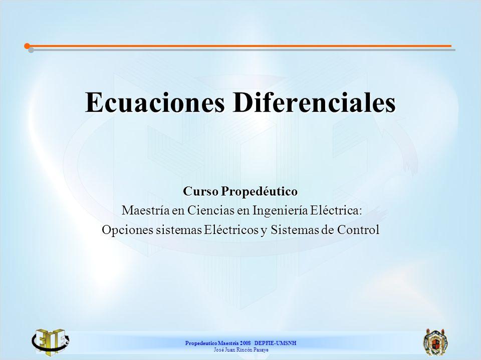 Propedeutico Maestría 2008 DEPFIE-UMSNH José Juan Rincón Pasaye Método de las Isoclinas Tarea: a) Encontrar la ecuación de las isoclinas para la ecuación diferencial b) ¿Qué tipo de curvas son estas isoclinas.