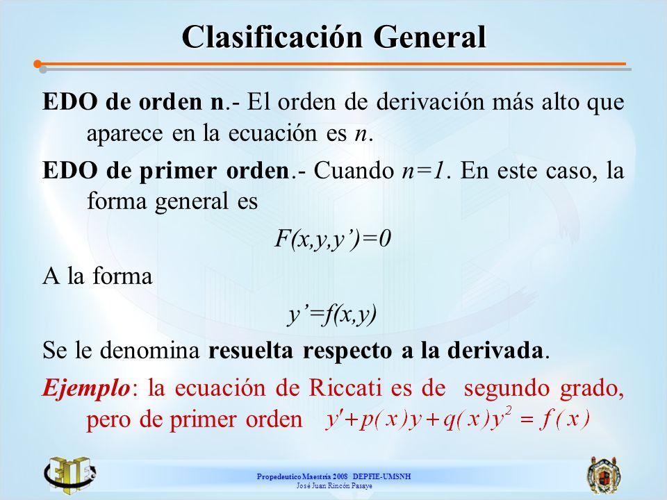 Propedeutico Maestría 2008 DEPFIE-UMSNH José Juan Rincón Pasaye Clasificación General EDO de orden n.- El orden de derivación más alto que aparece en