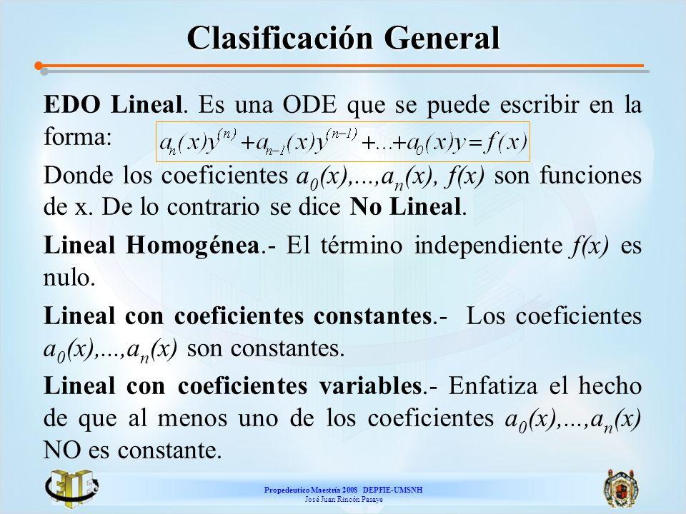 Propedeutico Maestría 2008 DEPFIE-UMSNH José Juan Rincón Pasaye Clasificación General EDO Lineal. Es una ODE que se puede escribir en la forma: Donde