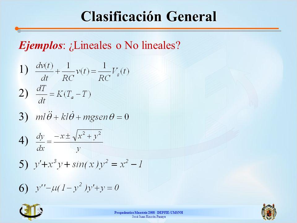 Propedeutico Maestría 2008 DEPFIE-UMSNH José Juan Rincón Pasaye Clasificación General Ejemplos: ¿Lineales o No lineales? 1) 2) 3) 4) 5) 6)