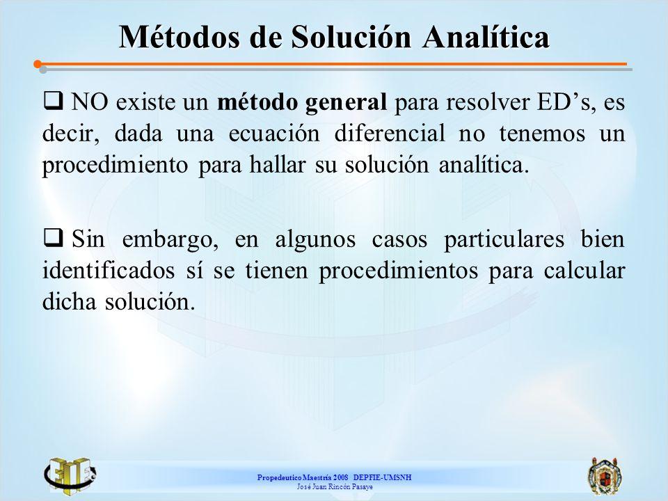 Propedeutico Maestría 2008 DEPFIE-UMSNH José Juan Rincón Pasaye Métodos de Solución Analítica NO existe un método general para resolver EDs, es decir,