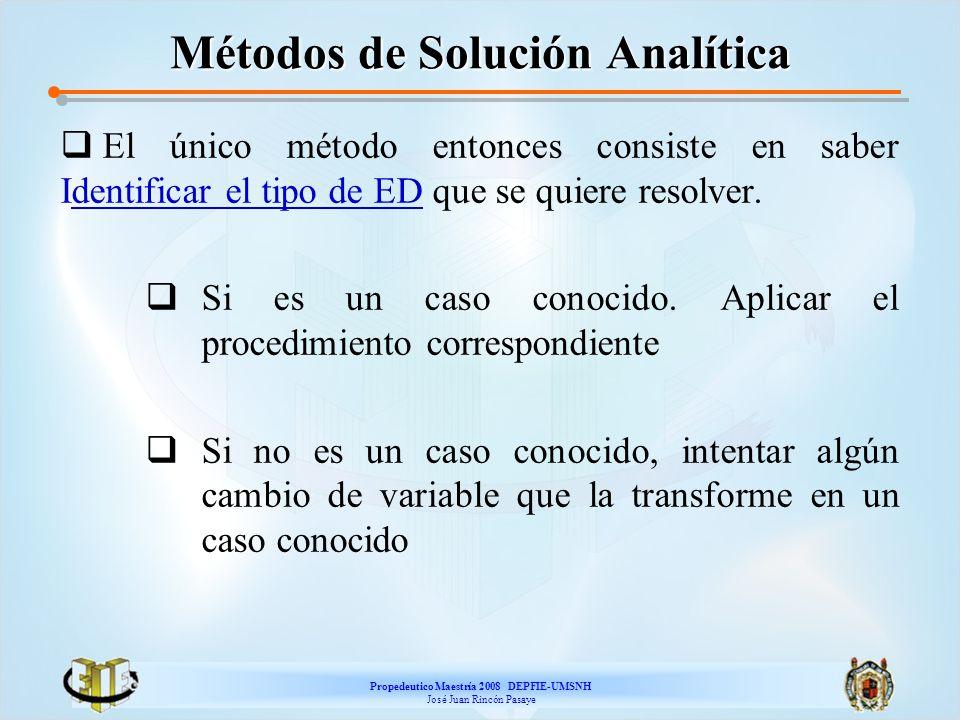 Propedeutico Maestría 2008 DEPFIE-UMSNH José Juan Rincón Pasaye Métodos de Solución Analítica El único método entonces consiste en saber Identificar e