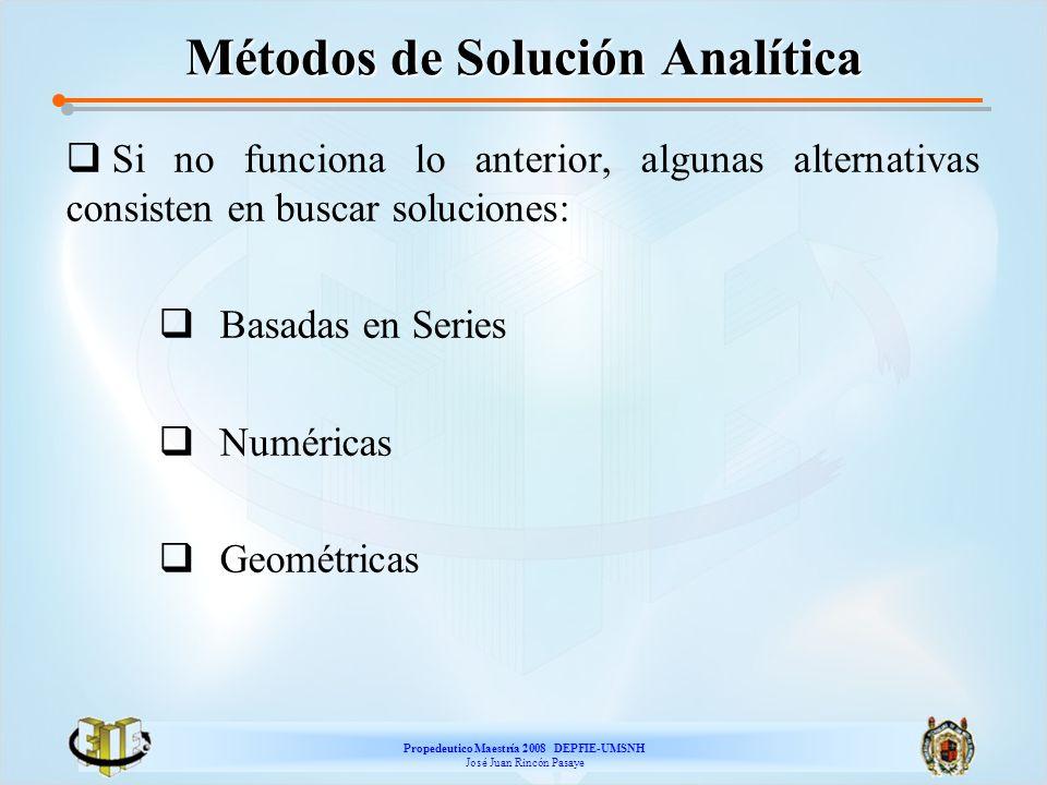 Propedeutico Maestría 2008 DEPFIE-UMSNH José Juan Rincón Pasaye Métodos de Solución Analítica Si no funciona lo anterior, algunas alternativas consist