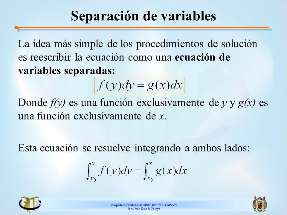 Propedeutico Maestría 2008 DEPFIE-UMSNH José Juan Rincón Pasaye Separación de variables La idea más simple de los procedimientos de solución es reescr