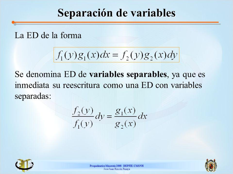 Propedeutico Maestría 2008 DEPFIE-UMSNH José Juan Rincón Pasaye Separación de variables La ED de la forma Se denomina ED de variables separables, ya q