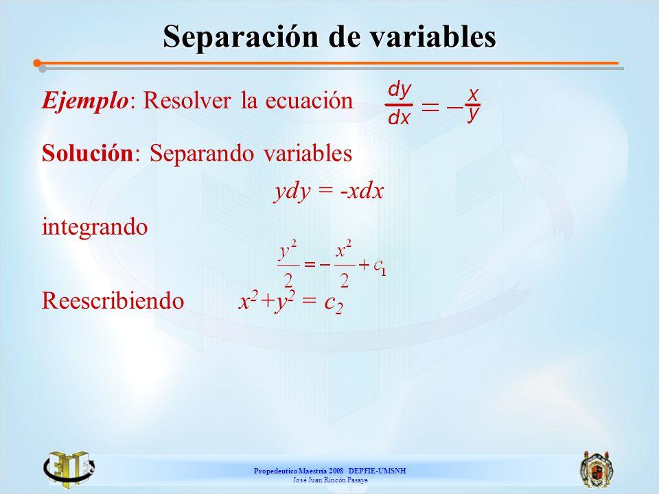 Propedeutico Maestría 2008 DEPFIE-UMSNH José Juan Rincón Pasaye Separación de variables Ejemplo: Resolver la ecuación Solución: Separando variables yd