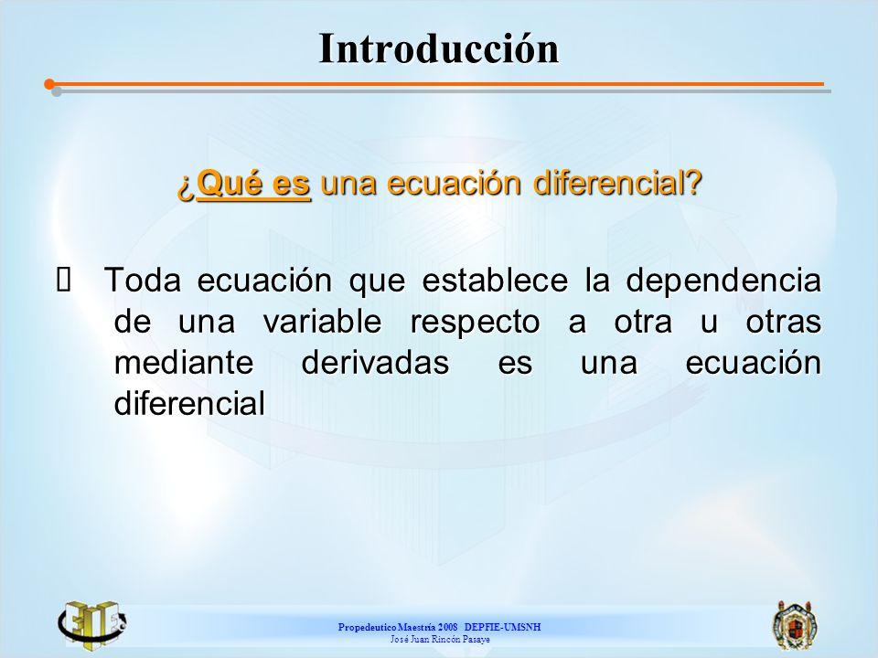Propedeutico Maestría 2008 DEPFIE-UMSNH José Juan Rincón Pasaye Solución de una ED La Solución General, también llamada integral general de la ED de la forma F(x,y,y,y,...,y (n) )=0, es la función y=f(x,c) que satisface dicha ecuación.