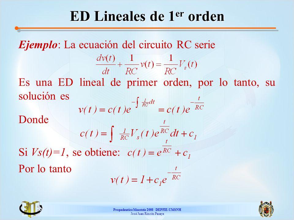 Propedeutico Maestría 2008 DEPFIE-UMSNH José Juan Rincón Pasaye ED Lineales de 1 er orden Ejemplo: La ecuación del circuito RC serie Es una ED lineal